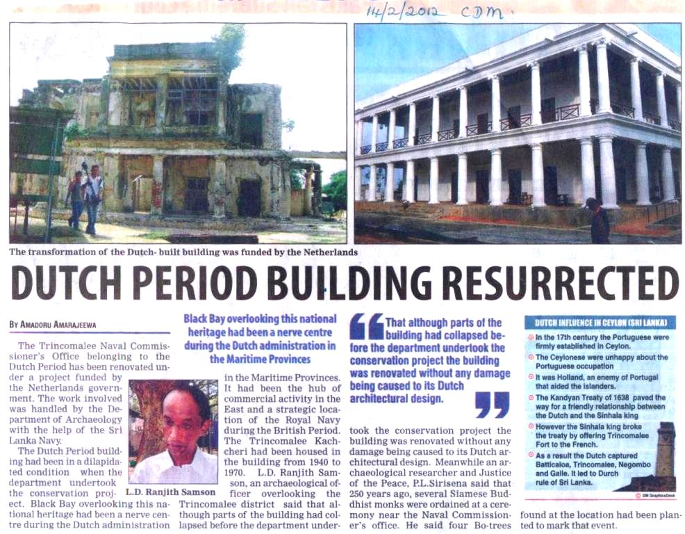 Newspaper article on dutch period building resurrected